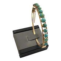 Vintage 14 karat Gold and Turquoise Bangle Bracelet