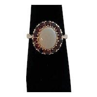 Vintage 14Karat Gold, Opal and Garnet Ring