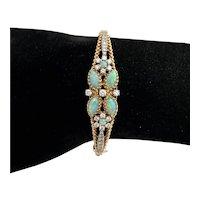 Gorgeous 14 Karat Gold Opal and Diamond Bracelet