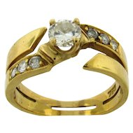 Lovely Vintage 18k Gold Diamonds Ring .40 C Center Stone