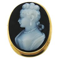 Antique 14k Gold Framed White & Black Hardstone Cameo Pendant Brooch