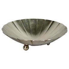 Tiffany and Co Sterling Silver Scallop Design Footed Bowl