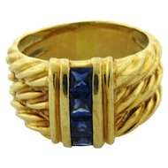 Vintage David Yurman 14k Yellow Gold Sapphire Cable Ring