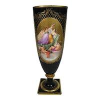 Vintage Royal Vienna Cobalt Blue Gold Painted Pictorial Vase