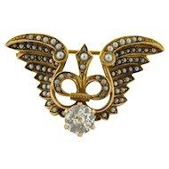 Art Nouveau Winged Fleur De Lis Seed Pearl 14k Gold .80 C Diamond Pendant Brooch