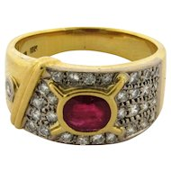 Vintage Natural Ruby Diamonds 18k Yellow Gold Designer Ring