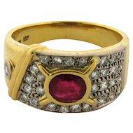 Vintage Natural Ruby Diamonds 18k Yellow Gold Designer Ring