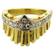 Vintage Crown Shape 18k Yellow Gold Diamond Designer Ring