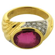 Vintage Designer Pink Tourmaline Platinum Diamond 18k Yellow Gold Ring