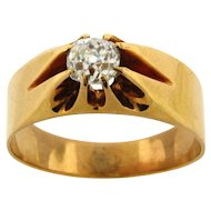 Art Deco .55 Carat Cushion Cut 14k Yellow Gold Ring