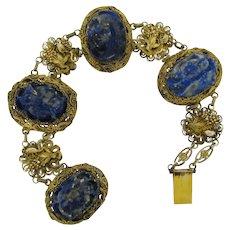 Antique Gilt Chinese Silver Carved Lapis Filagree Bracelet