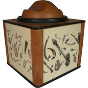 Rare Vintage Dunhill Pipe Tobacco Humidor With Painted Pipe Decorations