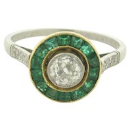 Antique Art Deco .53 Carat Diamond Emerald Platinum Ring