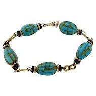 Art Deco 18k Yellow Gold Turquoise Onyx Fancy Link Designer Bracelet