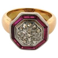 Art Deco Diamond Ruby 18k Yellow Gold Ring