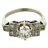 Original Art Deco Diamond Platinum .60 Carat Bar Design Ring