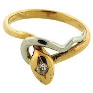 Vintage Multicolor 14k Gold Diamond Snake Ring