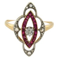 Art Deco Diamond Ruby 18k Yellow Gold Platinum Marquee Shape Ring