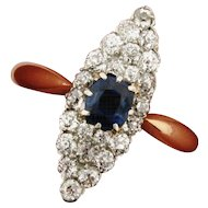 Exquisite Art Deco Sapphire Diamond Marquise Shape 18K Gold Ring