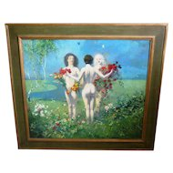 Julius Moessel (1872-1960) Oil Painting Of Three Graces Nudes With Flowers