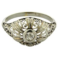 Antique Art Nouveau Filagree 18k White Gold Diamond Ring