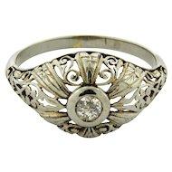 Antique Art Nouveau Filagree 18k White Gold Diamond Ring