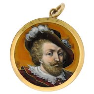 Antique Signed French Enamel Portrait Pendant 18k Yellow Gold
