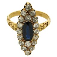 Antique Art Nouveau Marquise Shape Diamond Sapphire 18k Yellow Gold Ring