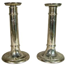 Antique Tiffany and Co Sterling Silver Candlesticks With Etched Flowers