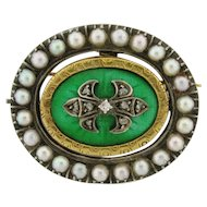 Antique 18k Gold Platinum Reversible Green Red Enamel Diamond Pearl Brooch