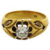 Antique Art Nouveau Mens Ring 18k Yellow Gold .95 C Cushion Diamond Ring