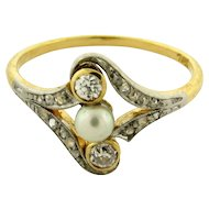 Original Art Deco Diamond Pearl Platinum 18k Yellow Gold Ring