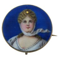 Antique Enamel Of Queen Louise Sterling Silver Brooch Pin