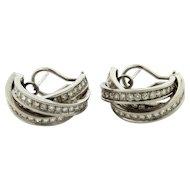 "Vintage 18k White Gold 3.24 Carat Diamond Earrings ""Half Rolling Ring"""