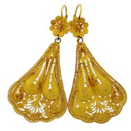 Vintage Filagree High Carat Yellow Gold Dangle Earrings