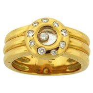 Vintage Chopard Happy Diamonds 18k Yellow Gold Thick Three Band Ring
