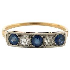 Original Art Deco 5 Stone Sapphires Diamonds Platinum 18K Yellow Gold Ring