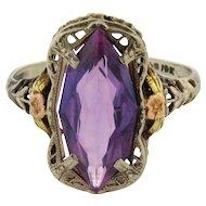 Art Nouveau Filagree Amethyst Tri Color 10K Gold Ring