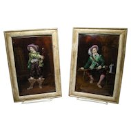 Pair Signed Large Antique Limoges Enamel Porcelain Plaques Of Gentleman C.1915