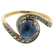Original Art Deco Cabochon Sapphire Diamond Platinum 18k yellow Gold Ring