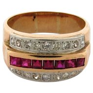 Original Art Deco Diamond Ruby 18k Yellow Gold Ring