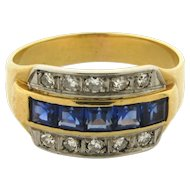 Original Art Deco Diamond Sapphire 18k Yellow Gold Ring
