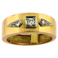 Original Art Deco Diamonds 18k Yellow Gold Thick Band Ring