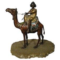 Antique Orientalist Bergman Vienna Bronze Arab On Camel With Naturalistic Base