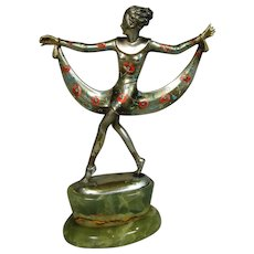 Josef Lorenzl Art Deco Cold Painted Silvered Bronze Onyx Figure Of Dancer