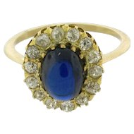 Original Art Deco Cabochon Sapphire Diamond 18k Yellow Gold Ring