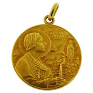 Antique Art Nouveau French Religious Pendant 18k Yellow Gold Signed Vernon