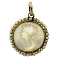 Antique Carved Mother Of Pearl Cameo Seed Pearl 18k Gold Pendant