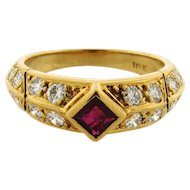 Retro Vintage Ruby Diamond 18k Yellow Gold Ring
