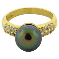 Vintage Designer Tahitian Pearl Diamond 18k Yellow Gold Ring
